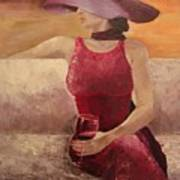 Girl With A Glass Poster