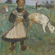 Girl With A Goat  Poster