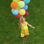 Girl With Air Balloons Poster