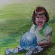 Girl With Ball Poster