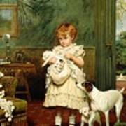 Girl With Dogs Poster by Charles Burton Barber