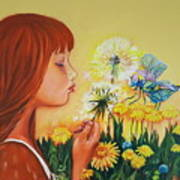 Girl With Flower Poster