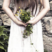 Girl With Flowers Poster
