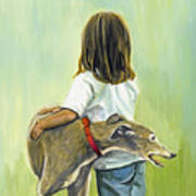Girl With Greyhound Poster