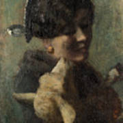 Girl With Lamb In Her Arms Poster