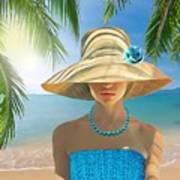 Girl With Summer Hat Poster
