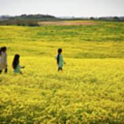 Girls Walking In The Field Poster