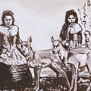 Girls With Pronghorn Fawns Historical Vignette From River Mural Poster