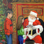 Giving The List To Santa Poster