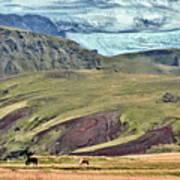 Glacier Mountains Meadows Horses Poster