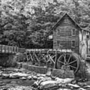 Glade Creek Grist Mill 2 Bw Poster