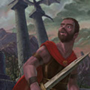 Gladiator Warrior With Monster On Pillar Poster