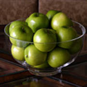 Glass Bowl Of Green Apples  Poster