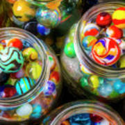 Glass Marbles In Containers Poster