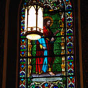 Glass Window Of Saint Philip In The Basilica In Santa Fe  Poster