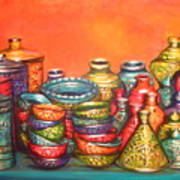 Glazed Moroccan Pots Poster
