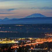 Glenn L Jackson Bridge And Mount Saint Helens After Sunset Poster