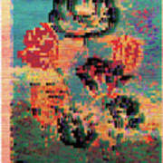 Glitched Tulips Poster