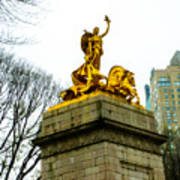 Gloden Maine Statue By Central Park New York Poster