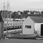 Gloucester Harbor Scene In Black And White Poster