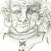 Gnarlsworth Gnome - Black And White Poster