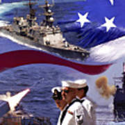 Go Navy Collage Poster