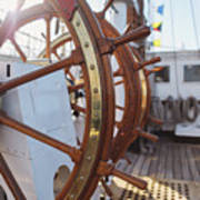 Steering Wheel Of Big Sailing Ship Poster