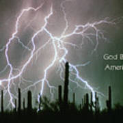 God Bless America Color Lightning Storm In The Usa Desert Poster
