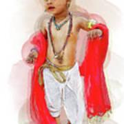 God Krishna Style Watercolor Poster