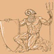 God Neptune Or Poseidon Poster by Aloysius Patrimonio
