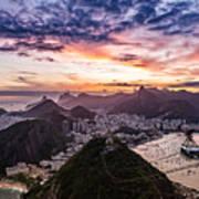 Going Up The Cable Car In Rio De Janeiro Poster