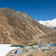 Gokyo Village And The Frozen Lake Poster
