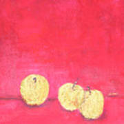 Gold Apples On Red Poster