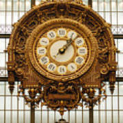Gold Clock Paris France Poster