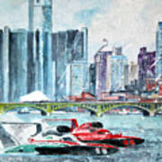 Gold Cup Race On Detroit River Poster