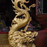 Gold Dragon Statue Poster