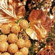 Gold Ornaments Holiday Card Poster