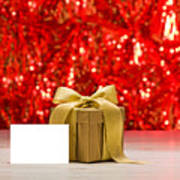 Gold Present With Place Card  Poster