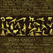 Gold Yoga Asanas / Poses Sanskrit Word Art  Poster