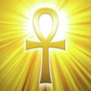 Golden Ankh With Sunbeams Poster