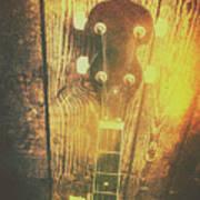 Golden Banjo Neck In Retro Folk Style Poster