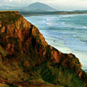 Golden Beach Cliff Side  Painterly Poster
