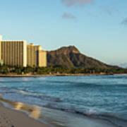 Golden Bliss On The Beach - Waikiki And Diamond Head Volcano Poster