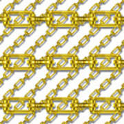 Golden Chains With White Background Seamless Texture Poster