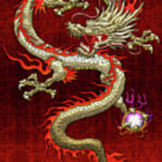 Golden Chinese Dragon Fucanglong On Red Silk Poster