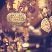 Golden Christmas Hearts Poster