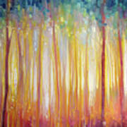 Golden Forest Hidden Unicorn - Large Original Oil Painting By Gill Bustamante Poster