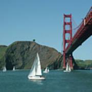 Golden Gate Bridge And Sailboats Poster