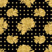 Golden Gold Floral Rose Cluster W Dot Bedding Home Decor Art Poster
