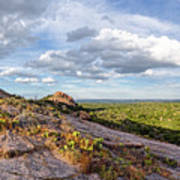 Golden Hour Light On Turkey Peak And Prickly Pear Cacti - Enchanted Rock Fredericksburg Hill Country Poster